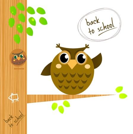illustrierte: Wise Owl Charakter Ergebnis zur�ck zu Schule-Zeichen Illustration