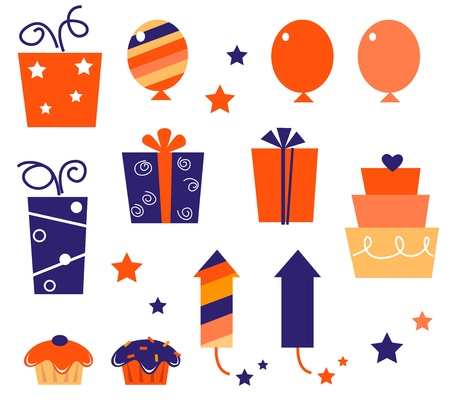 Cute gift and balloon icons and elements for party.