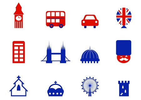 london bus: London retro icons set - tourist city attractions and design elements.  Illustration