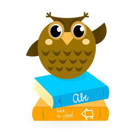 profesor: Búho sabio mascota con los libros.