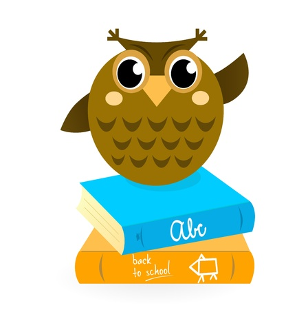Wise Owl Mascot with Books.  Vector