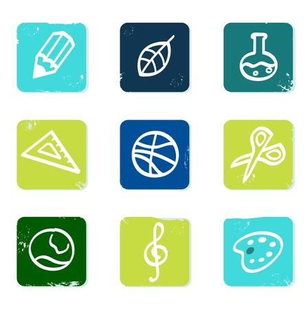 educational tools: Vector hand drawn icons blocks collection - blue and green.