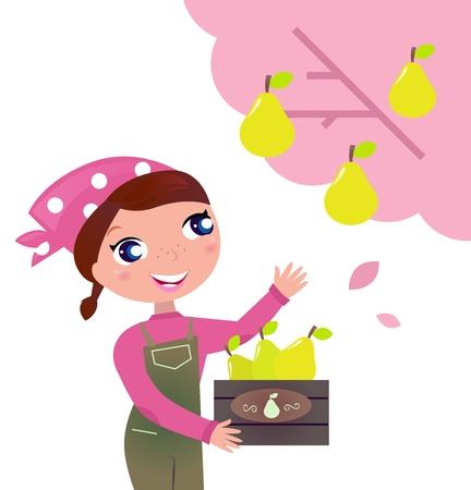 Mujer cosechando frutos en la granja. Ilustración vectorial.