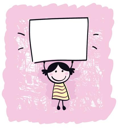 ni�os sosteniendo un cartel: Feliz Linda poco chica celebraci�n vac�a en blanco banner - Ilustraci�n animada Vectores