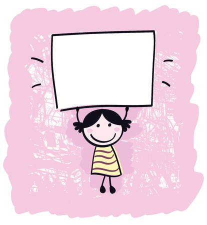 doodle art clipart: Happy cute little girl holding empty blank banner - cartoon illustration