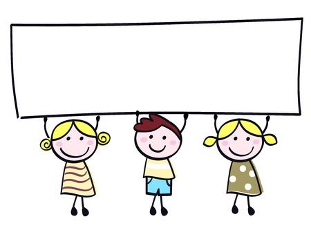childish: Счастливые милые маленькие девочки и мальчик держит пустым пустой баннер - мультфильм иллюстрации. Иллюстрация