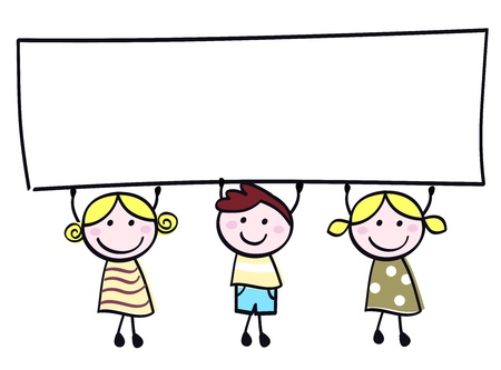 children group: Happy cute little girls and boy holding empty blank banner - cartoon illustration.