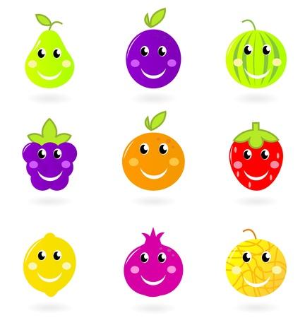 nice food: Симпатичный мультфильм вектор фруктовые иконки - оранжевый, сливы, pomegrenate, арбуза или ежевика и т.д., изолированных на белом фоне.