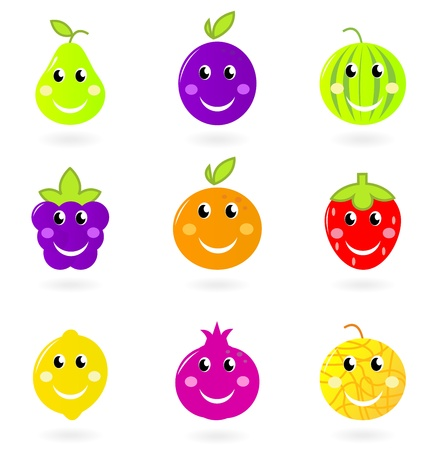 nine: Cute cartoon vector fruity icons - orange, plum, pomegrenate, watermelon or blackberry etc. isolated on white background.