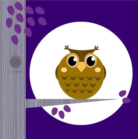 Halloween Owl during Midnight. Vector cartoon Illustration.