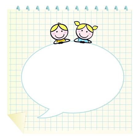 Niños lindos escuela aislar en cuadrícula el Bloc de notas. Ilustración vectorial en estilo retro.
