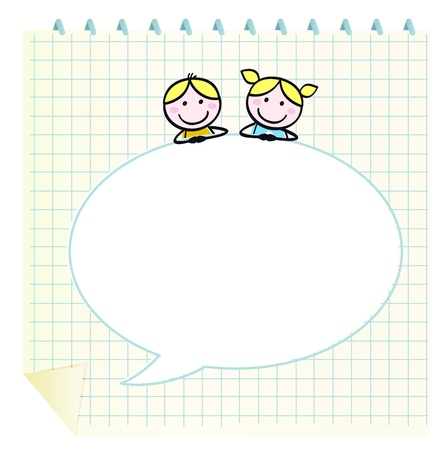 friends laughing: School cute kids isolate on grid Notepad. Vector Illustration in retro style.  Illustration