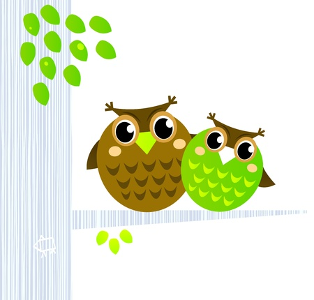 brothers: Owl Mascots sitting together - Vector cartoon Illustration.