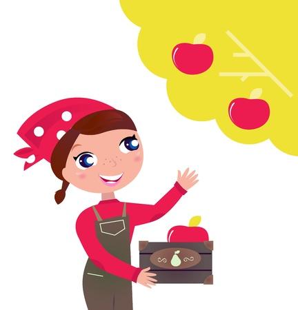 picking: Woman takes Fruit from tree. Vector cartoon Illustration. Illustration