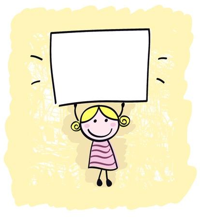 whiteboard: Gelukkig klein kind meisje met lege lege banner teken