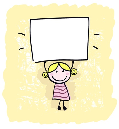 Happy little kid girl holding empty blank banner sign Stock Vector - 10445365