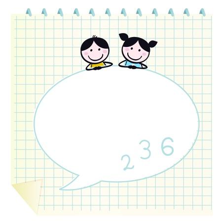 ni�os con l�pices: Dos lindos ni�os felices, el Bloc de notas y bocadillo