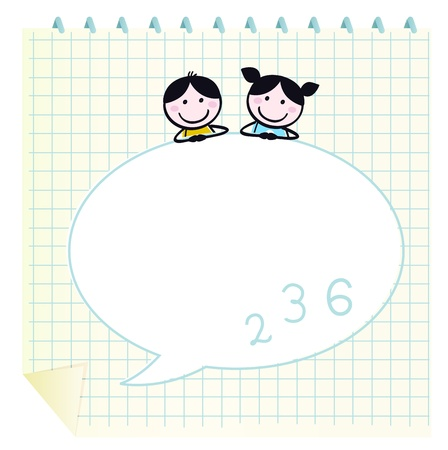 Two cute happy Children, Notepad and Speech Bubble Vector