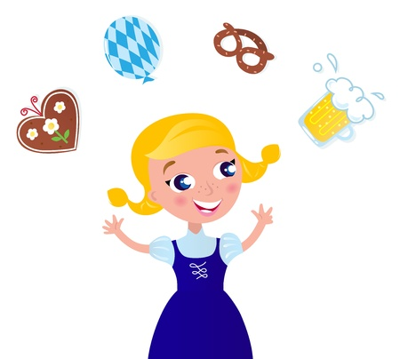 german tradition: Cute Blond Hair Woman in Octoberfest costume. Vector cartoon Illustration.