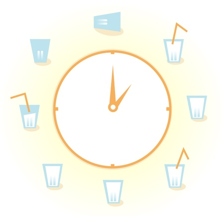 purified: Drink! Vector Illustration of a clock with 9 Glasses of fresh water drinks for health! Illustration