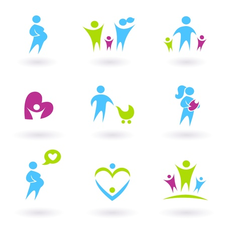 Icon collection - Family, Pregnancy and Parenthood - blue and green Illustration
