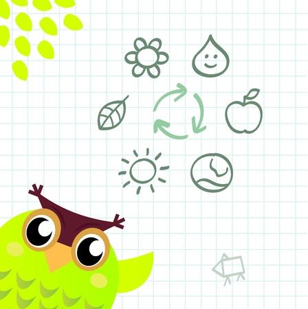 recycle tree: Wise smart Owl Teacher teaching Ecology. Vector cartoon Illustration.