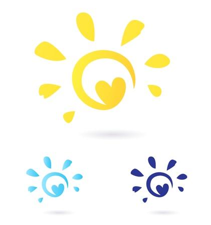 logo voyage: Vecteur Sun signe ou icône isolées sur fond blanc. Variantes de couleur jaune et bleu. Illustration