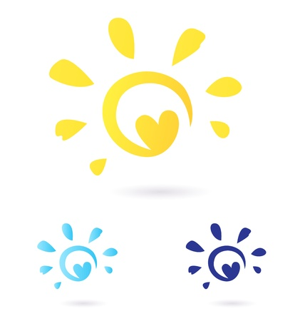 Vector Sun sign or icon isolated on white background. Yellow and blue color variants. Vector