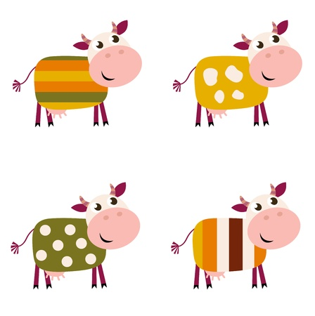 animal leg: Vector collection of four happy creative Cow characters - isolated on white. Illustration