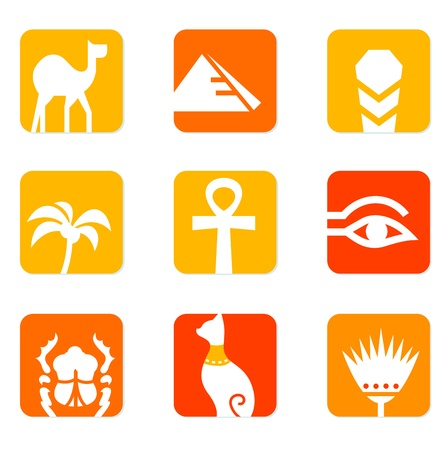 pyramid of the sun: Vector collection of Egypt icons - pyramid, camel, scarab, anubis, obelisk, cat etc. Illustration