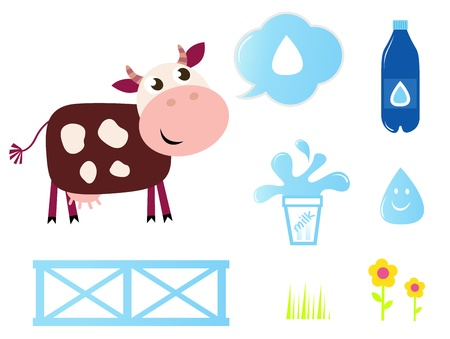 Milk, food and nature icons - Vector cartoon Illustration Stock Vector - 10445355