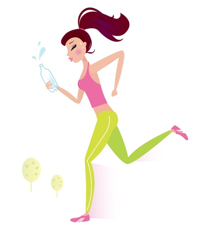 Jogging woman isolated on white background. Vector Illustration.