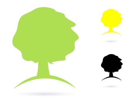 Vector natuurlijke sterke Tree teken of pictogram - groen, geel en zwart Vector Illustratie