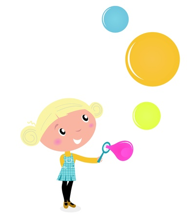foam bubbles: Cute cartoon Child with Colorful Soap Bubbles.