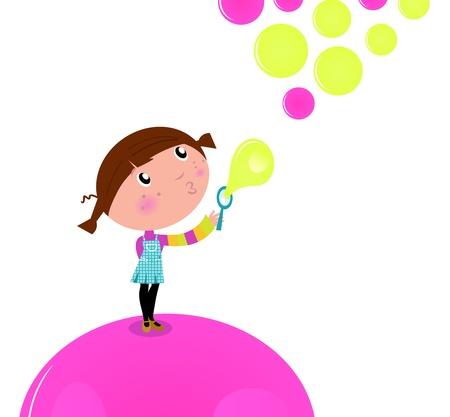 Adorable niña soplar burbujas de jabón en el aire.
