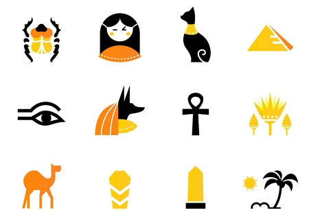 pyramid of the sun: Collection of Egypt icons - pyramids, scarab, anubis, camel, cat, obelisk etc.  Illustration