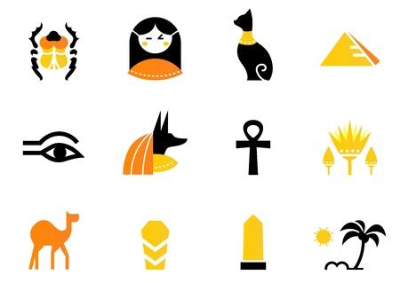scarabeo: Raccolta di icone di Egitto - piramidi, scarabeo, anubis, cammello, gatto, Obelisco ecc.
