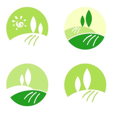logo terre: Concevoir des ic�nes de la collection : paysage, de Nature et de collines.  Illustration