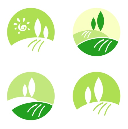 leaf logo: Design collection icons: Landscape, Nature and Hills.