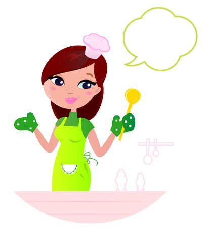 dona de casa: Cooking Mother showing something about cooking.