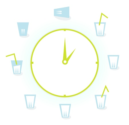 Drink! Illustration of a clock with 9 Glasses of fresh water drinks for health! Vector