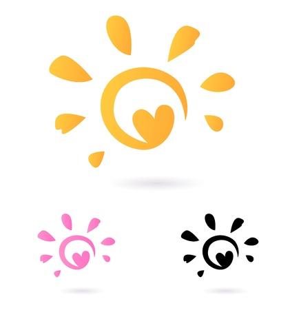 sol: Signo solar o icono aisladas sobre fondo blanco. Vectores