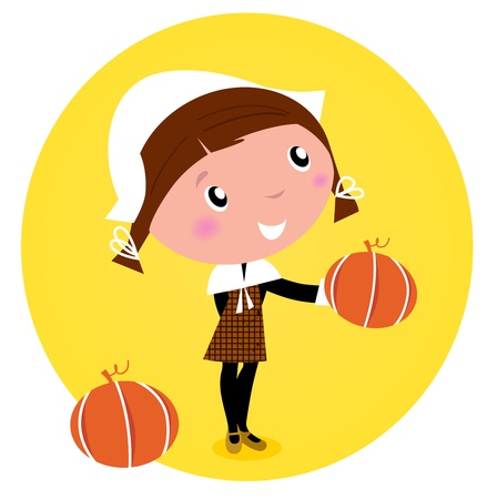 Cute Thanksgiving  Pilgrim Girl with pumpkin head - isolated on white.  Vector