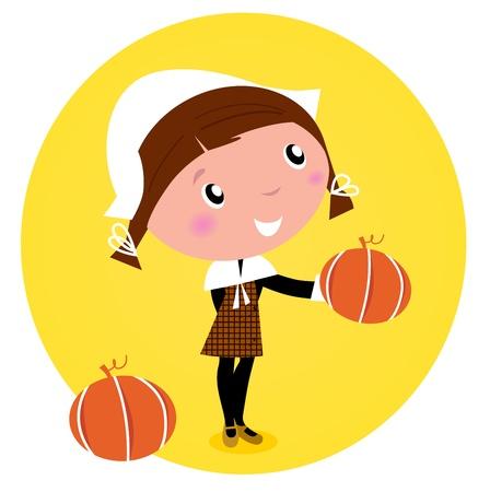 pilgrim: Cute Thanksgiving  Pilgrim Girl with pumpkin head - isolated on white.