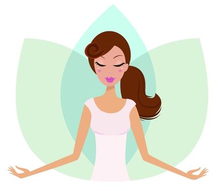 tranquility: Mujer de yoga practicar yoga, flor de loto verde detr�s de la chica. Vectores
