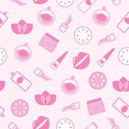 background with Cosmetics elements isolated on pink. Illustration