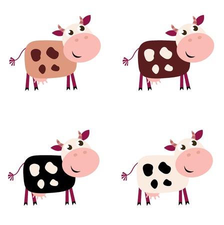 animal fauna: collection of four happy Cow characters - isolated on white.