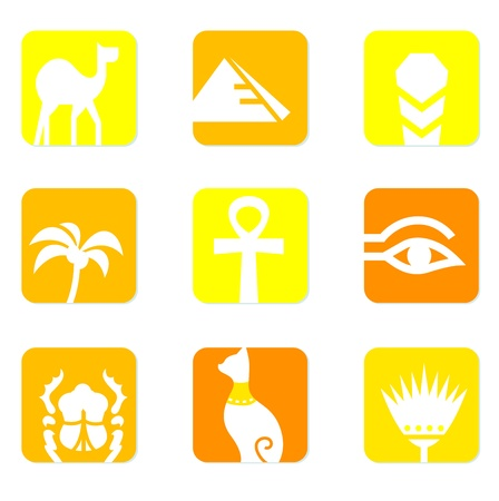 pyramid of the sun: collection of Egypt icons isolated on white - yellow background.