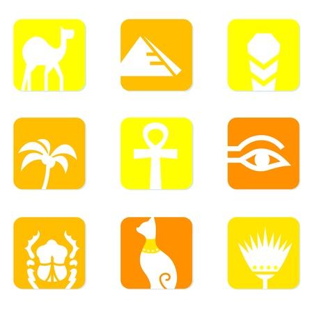 scarabeo: raccolta di icone di Egitto isolata on white - sfondo giallo.