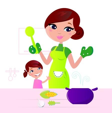 mujeres cocinando: Madre y ni�o cocinar juntos en la cocina.